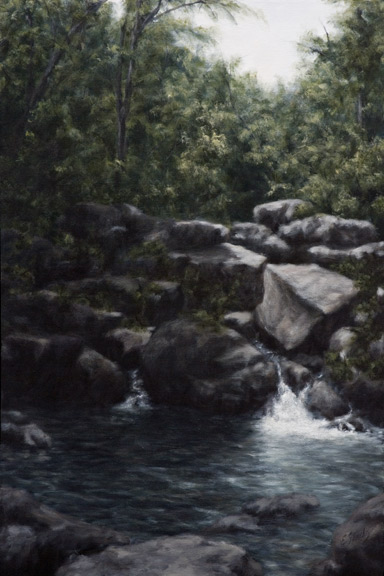 Erick Sanchez Painting cascade country mountains Puerto Rico