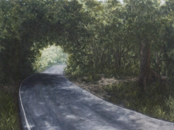 Erick Sanchez Painting road country mountains arecibo Puerto Rico