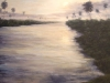 Erick Sanchez Painting river sunset beach Puerto Rico