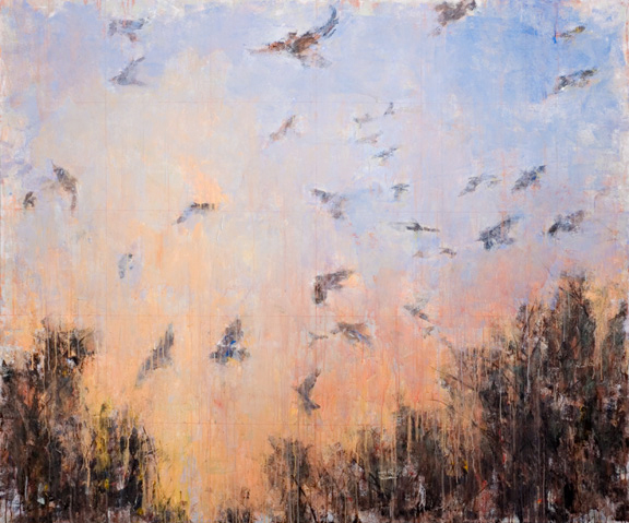 Erick Sanchez Painting birds migration wildfire  apocalypse