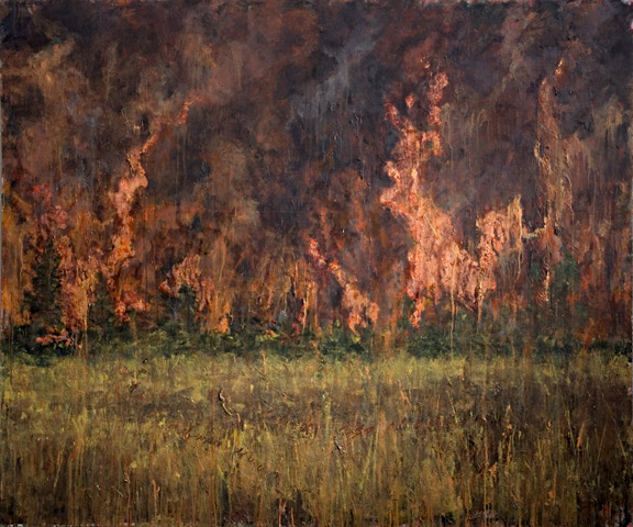 Erick Sanchez Painting wildfire global warming copper leaf