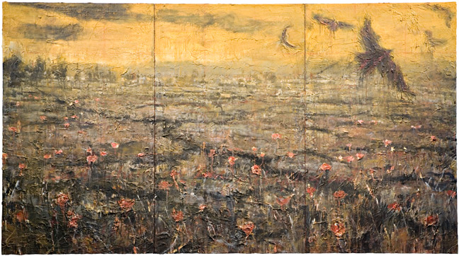 Apocalyptic painting global warming Claude Monet Poppy Field