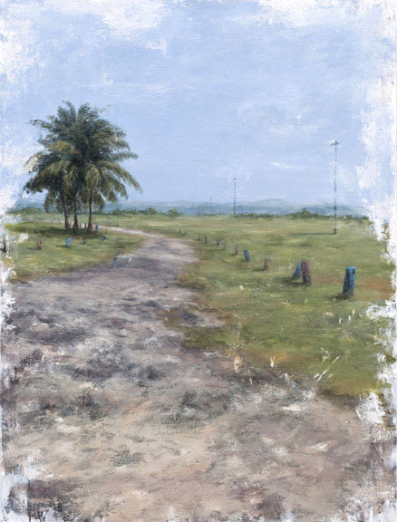 Erick Sanchez Painting palm tree beach road Puerto Rico
