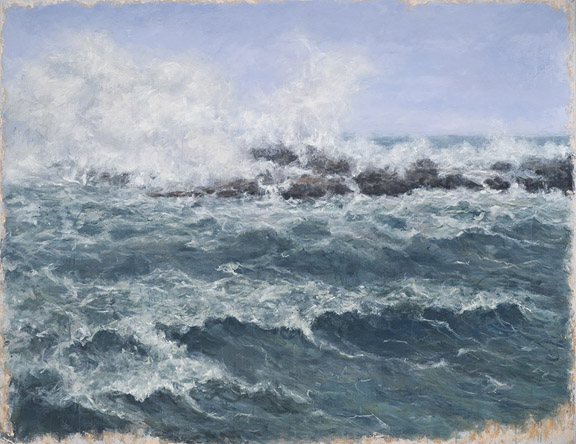 Erick Sanchez Painting brave sea atmosphere Condado Puerto Rico