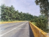 Erick Sanchez Painting road yellow bridge Aguadilla Puerto Rico