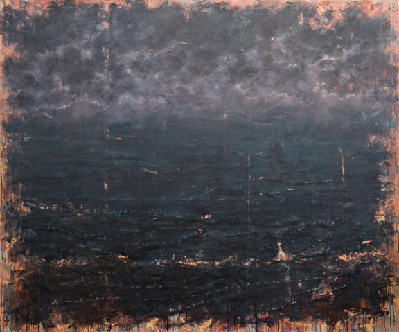 Erick Sanchez painting of sea at night dark calm sea