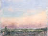 Erick Sanchez painting of hightway pink sunset sky puerto rico