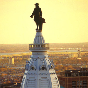 William Penn stands on top of Philadelphia's City Hall Credit: G. Widman