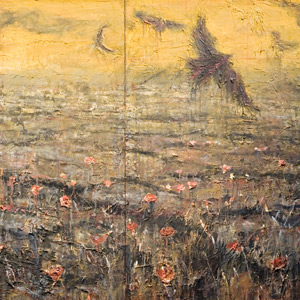 Erick Sanchez apocalyptic landscape painting Claude Monet Landscape with poppies
