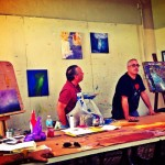 Erick Sanchez painting workshop at Liga de Arte de San J